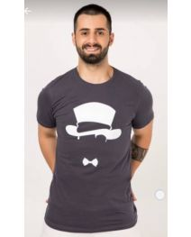 ZAFONI Men Dark Grey T Shirt
