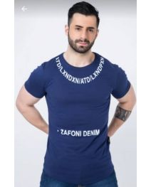 Zafoni Dark Blue Men T Shirt - XL