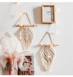 A set of 2 mini Leaf Tapestry Macrame Wall Hanging Decorations - Beige color