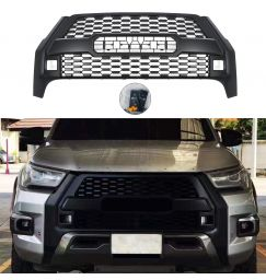 Modified New Racing Grills For Hilux Grill For Hilux Revo Rocco 2021 Auto Accessories Modified Front Bumper Mesh Cover Grills