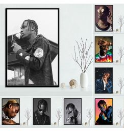 Hot Travis Scott Rapper Music Star Fashion Canvas Painting Posters and Prints Cuadros Wall Art Picture for Living Room Decor