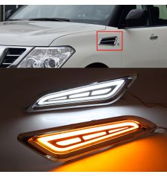 LED DRL Flowing Turning Light  Signal Lamp Chrome Side Vents Side fender For Nissan Patrol Y62 Armada 2014-2017 2018 2019 2020