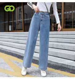 GOPLUS 2021 Plus Size Jeans For Women New High Waist Loose Mopping Pants All-match Wide-leg Pants Long Baggy Jeans Women Outdoor
