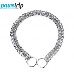 pawstrip Double Chain Dog Collar Lead Durable Outdoor Pet Dog Training Collar For Big Dogs S/M/L