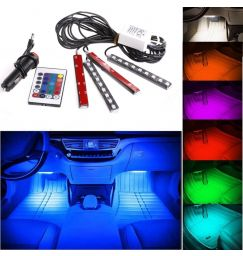 Car Styling DC 12V 4in1 Remote RGB Wireless Control Car Truck 9 LED Neon Interior Light Lamp Car Accessories