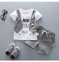 Two Fake Clothing Sets Baby Toddler Boys Clothes Gentleman Bow T-shirt Tops Shorts Pants Outfits Clothes Set Letter Print Tops