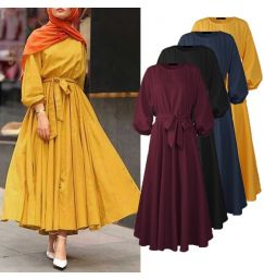 Women Solid Full Sleeve Dress Lace-Up O-Neck Casual Tunic High Waist Long Maxi Robe