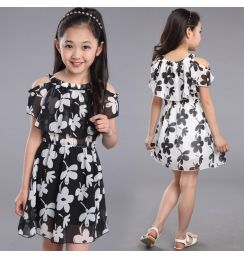 Teenage Girl Dresses Summer 2019 Children's Clothing Kids Flower Dress Chiffon Princess Dresses For Age  7 8 9 10 11 12  Years