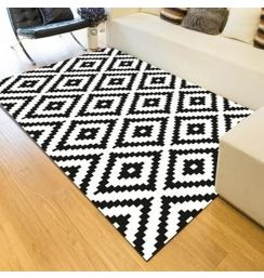 Nordic fashion black and white rectangle carpets for living room Coffee table large area soft rugs Modern Simple Bedroom carpet