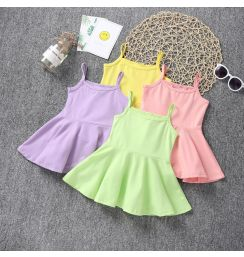 2021 Summer New Cotton Baby Girls Sling Dress Children Casual Style Clothes baby Girl Kids Princess Birthday Sleeveless Dresses