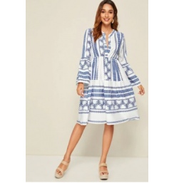 Aztec Print Notch Neck A-Line Dress