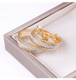 Hgflyxu  Gold color Small hoop Earrings for women  round 25mm   Shining fashion Jewelry Womens Ear Accessories   2020 new