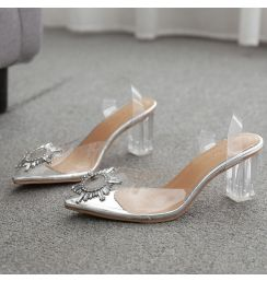 2020 Summer Transparent High Heels Sandals Women Sexy Slip-on Pointed Toe Pumps Shoes Fashion Comfort Silver  Party