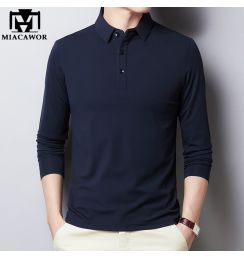 2020 New Polo Shirt Men Cotton Long sleeve Polo Shirts Male Classic Solid Colors Slim Fit Tee shirt Homme Men Clothing T894