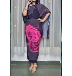 Chiffon Sudanese Toob Black and Pink