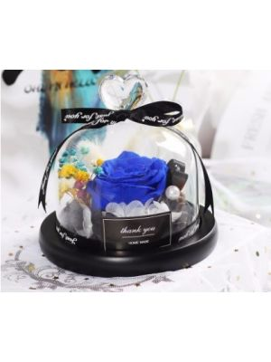Real Roses In Flask Glass Dome - Blue - 191201015