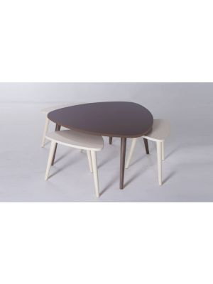 Monna Center Table Brown and White