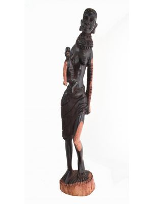 Wooden Figure Woman Ebony Wood