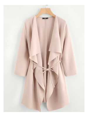 SHEIN Waterfall Collar Pocket Front Wrap Coat