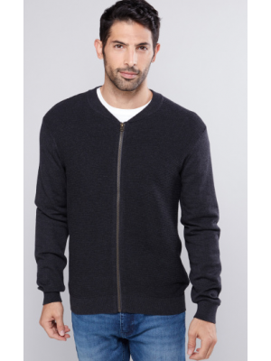 Ribbed Sweater with Long Sleeves and Zip Closure