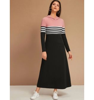 SHEIN Black & Pink Dress With Hoodie Size S,M,L,XL