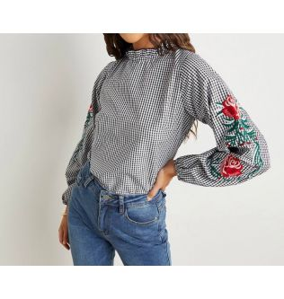 Long Sleeves Striped/Flowers Casual Top