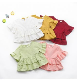 2020 candy color Baby Girl Dresses Ruffles Sleeve Summer Lotus T-shirt Infant Girls Clothing Princess Dress Baby Girl Clothes