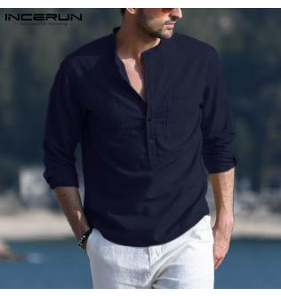 Men's Casual Shirt Brand Solid Color Long Sleeve Stand Collar Cotton Fashion Chic Blouse 2021 Streetwear Camisas Hombre INCERUN
