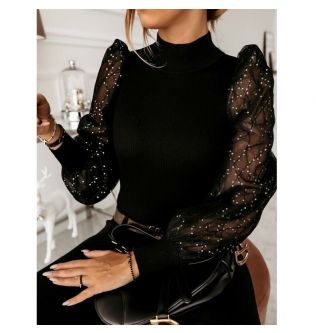 Fashion Puff Sleeve Mesh Transparent Sleeve Pullover Blouse Shirts Spring Women Polka Dot Shirts Knitted Turtleneck Thin Sweater