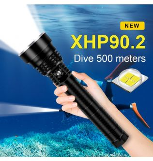 Diving for LED Flashlight Torch XHP90.2  Dive Torch 500M Underwater Waterproof Tactical Professional Dive Lantern XHP90 Lamp