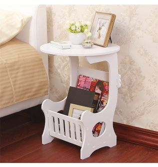 Mini Plastic Round Coffee Tea Table Home Living Room Storage Rack Bedside Table White