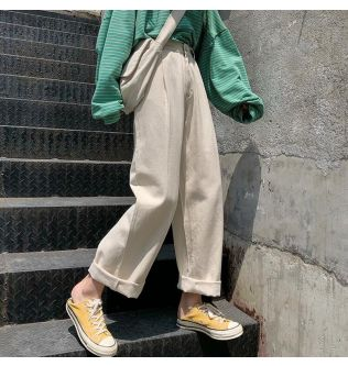 High-waist jeans for female students are slim and spring clothes. New Joker pants are retro wide-legged loose bf Torre pants