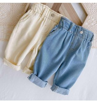 0-3 years old baby soft jeans 2020 autumn boys and girls baby Korean version of solid color casual high waist big PP pants