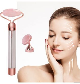 2 in 1 Electric Jade Roller Face Massager Lifting Vibrating Quartz Jade Facial Beauty Tool Slimming Face Wrinkle Removal