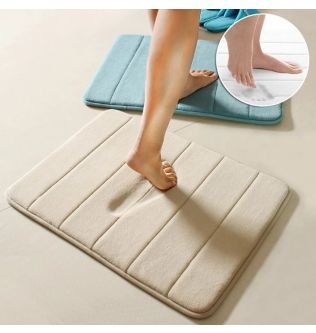 Bathroom Anti-Slip Mat Memory Foam Bath Mats with Fast Water Absorption Coral Fleece Bathroom Rugs and Carpets