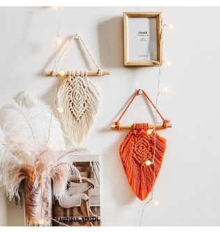Mini Leaf Tapestry Macrame Wall Hanging Decorations - Beige color