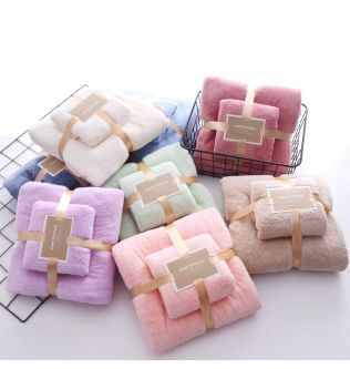 Coral Fleece Towel Set Absorbent Hair Swimming Face Hand Bath Microfibre Towels Bathroom Shower Towels Microfiber Quick-Drying