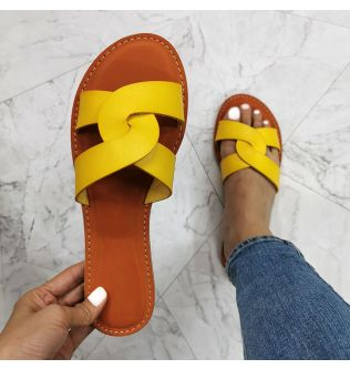 Women Fashion Sandals Casual Flat Beach Shoes Summer Female Shoes Brand Leather Slip on Slides Solid Color Outdoor Woman Sandal