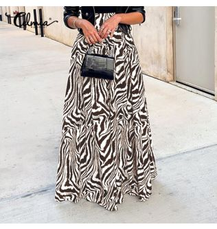 Plus Size Women 2020 Fashion Zebra Printed Skirts Celmia Vintage High Waist A-Line Maxi Skirt Casual Loose Buttons Party Skirts