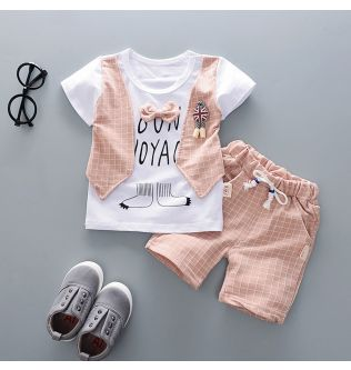 2021 New Summer Toddler Baby Boys Gentleman Bow T-shirt Tops Shorts Pants Outfits Clothes Set kids Clothes for boys Summer#Y