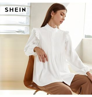 SHEIN White Frill Neck Pleated Button Up Shirt Blouse Women Spring Stand Collar Bishop Sleeve Solid Long Elegant Ruffle Blouses