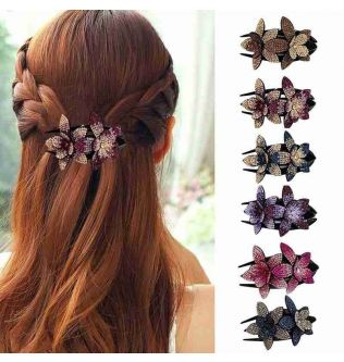 Rhinestone Double Flower Hair Clip Hair Crystal Hair Combs Female Elegant Beads Hairgrip Handmade Fashion Hair Accessories Tools