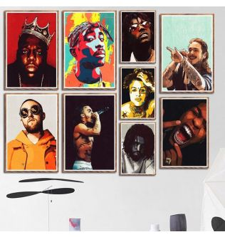 Canvas poster swimming music star rap singer hip hop rap canvas painting for living kids room wall decoration