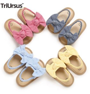 Baby Girls Bow Knot Sandals Cute Summer Soft Sole Flat Hollow Breathable Princess Baby Girl Shoes Infant Non-Slip First Walkers