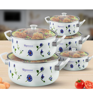 Reoona 10 Pcs Casserole Set With Glass Cover Lid, 662DG, White