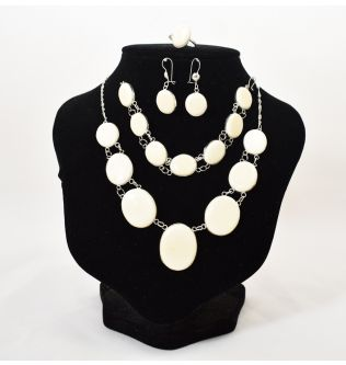 Abnosa Craft  ivory and silver Set
