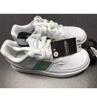 George White With Green Strip Shoes for Kids Size 32, 34