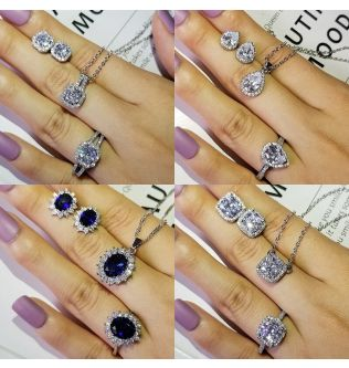 solid 925 Sterling Silver Jewelry Set Engagement ring necklace pendant for Wedding Bridal Jewelry for women stud earring  J1104