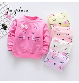Fanfiluca New Girls T-Shirts Long Sleeve Girl Autumn Cat Tees Shirts Casual Tops Clothes Children Outwear Outfits