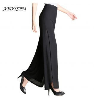 Elegant Wide Leg Pants For Women Summer Chiffon Pants Trousers Women High Waist Slit Casual Pants Streetwear Women Dance Pants